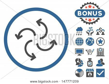 Cyclone Arrows icon with bonus pictures. Vector illustration style is flat iconic bicolor symbols, cobalt and gray colors, white background.