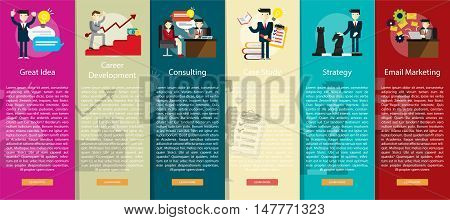 Business People Vertical Banner Concept   Set of great vertical banner flat design illustration concepts for business, people, marketing, working, idea, event and much more.