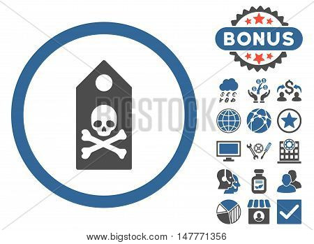 Death Mark icon with bonus design elements. Vector illustration style is flat iconic bicolor symbols, cobalt and gray colors, white background.