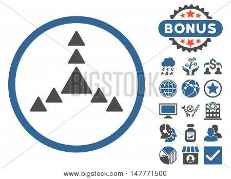 Direction Triangles icon with bonus symbols. Vector illustration style is flat iconic bicolor symbols, cobalt and gray colors, white background.