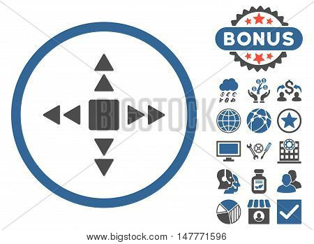 Direction Triangles icon with bonus images. Vector illustration style is flat iconic bicolor symbols, cobalt and gray colors, white background.