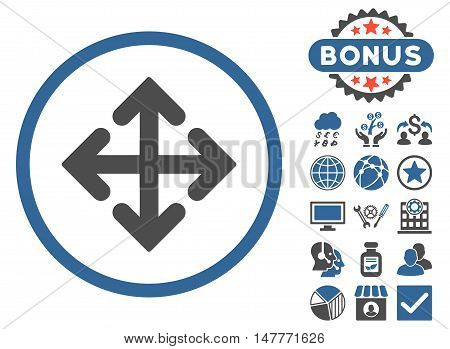 Direction Variants icon with bonus elements. Vector illustration style is flat iconic bicolor symbols, cobalt and gray colors, white background.