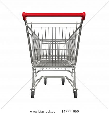 Shopping Cart with Boxes isolated on white background. 3D render