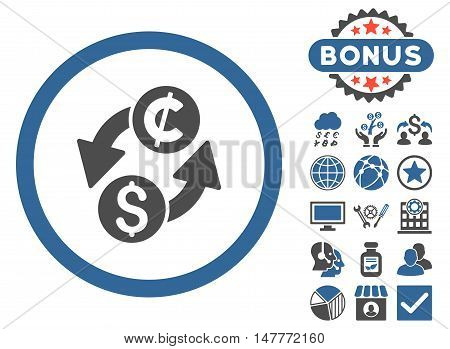 Dollar Cent Exchange icon with bonus elements. Vector illustration style is flat iconic bicolor symbols, cobalt and gray colors, white background.