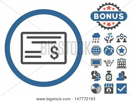 Dollar Cheque icon with bonus design elements. Vector illustration style is flat iconic bicolor symbols, cobalt and gray colors, white background.