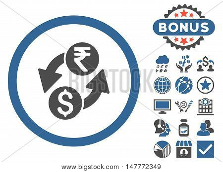 Dollar Rupee Exchange icon with bonus elements. Vector illustration style is flat iconic bicolor symbols, cobalt and gray colors, white background.