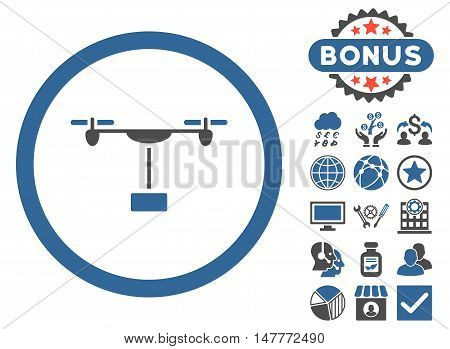 Drone Shipment icon with bonus pictures. Vector illustration style is flat iconic bicolor symbols, cobalt and gray colors, white background.