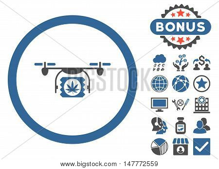 Drugs Drone Shipment icon with bonus pictures. Vector illustration style is flat iconic bicolor symbols, cobalt and gray colors, white background.