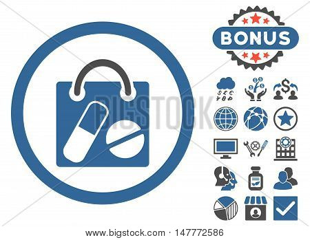 Drugs Shopping Bag icon with bonus images. Vector illustration style is flat iconic bicolor symbols, cobalt and gray colors, white background.