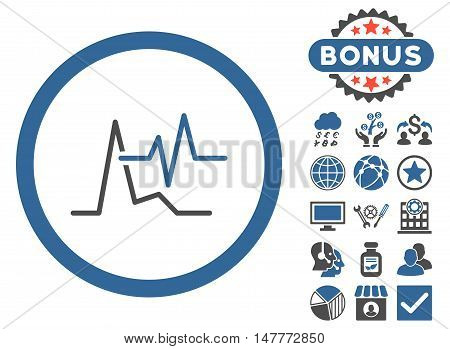 ECG icon with bonus images. Vector illustration style is flat iconic bicolor symbols, cobalt and gray colors, white background.