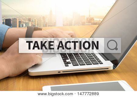 TAKE ACTION SEARCH WEBSITE INTERNET SEARCHING Warm tone man use computer