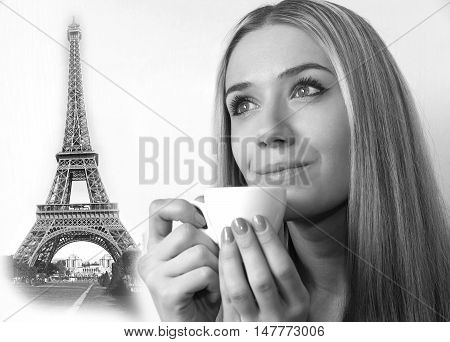 A collage of photos of the girl with a cup of coffee and the Eiffel Tower.