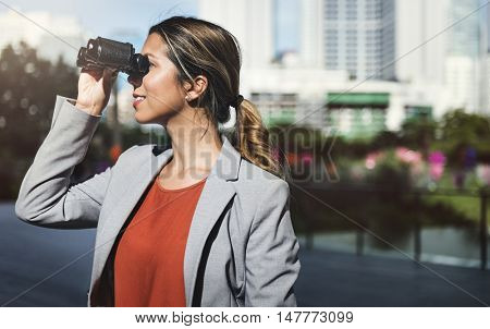 Businesswoman Binoculars Vision Strategy the Way Forward Concept
