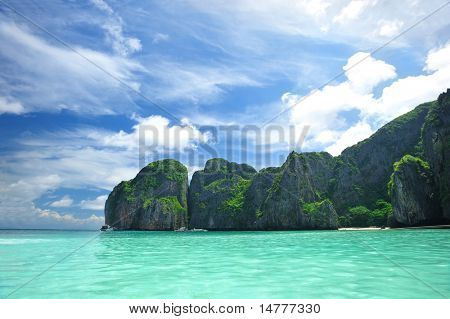 Beautiful lagoon at  Phi Phi Ley island, the exact place where
