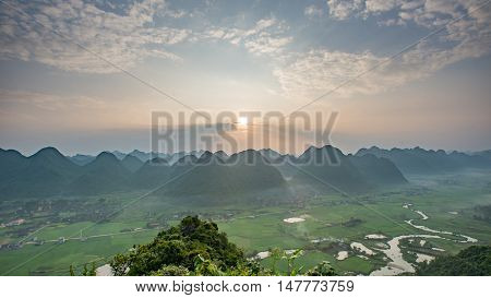 Beautiful landscape Mountain Rice field in valley in Bac Son Lang Son Vietnam