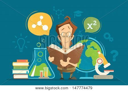 School education colorful vector illustration concept. Young schoolboy boy child kid pupil holding and reading a book or textbook and learning geography chemistry physics and mathematics maths lessons.