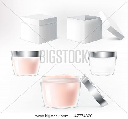Vector set of illustrations for cosmetics containers. Cream bottles made of transparent glass.