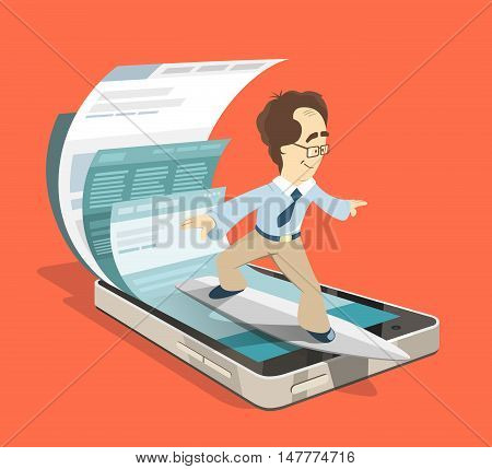 Fast speed mobile internet surfing. Man businessman on surfboard. Search information using smartphone. Color vector illustration creative concept.