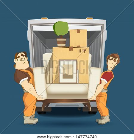 Two loaders movers man holding and carrying armchair with cardboard box flower pictures and books. Moving services 3d creative concept and conceptual color vector illustration.