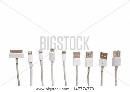 Various USB cable port, old and new, isolated on white background