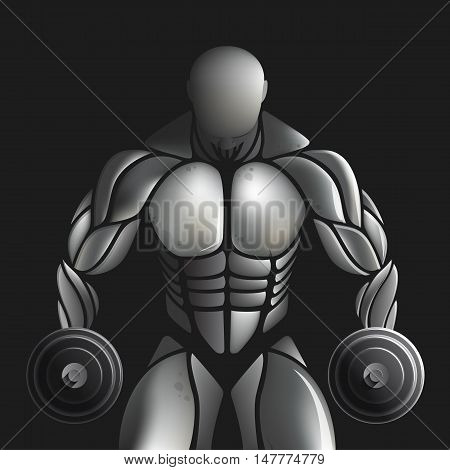 Handsome muscular bodybuilder train posing over black background. Design illustration creative concept.