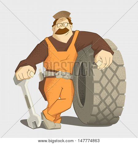 Car tire tyre service illustration. Strong smile man holding wrench and big wheel.