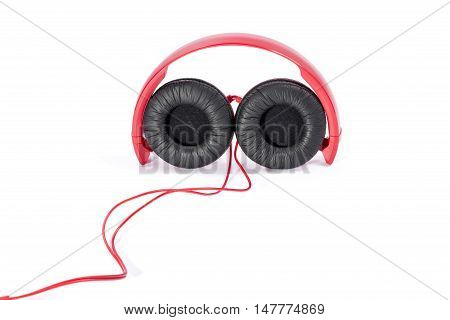 New wired earphones on a white background