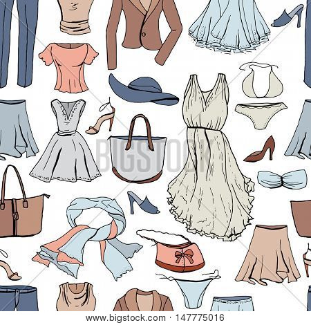 Evening woman clothes. Seamless pattern,color.