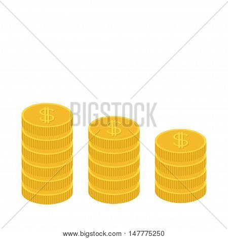 Gold coin stacks icon in shape of diagram. Dollar sign symbol. Cash money. Going down graph. Income and profits. Growing business concept. Flat design. White background. Isolated. Vector illustration