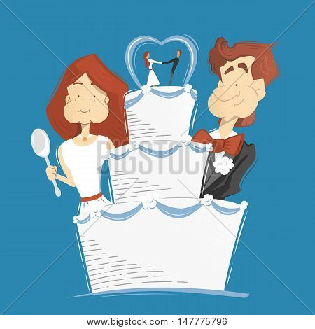 Big white wedding cake illustration. Happy smile groom and bride woman and man eating wedding cake.