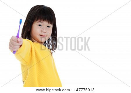 Sleepy Asian Girl With A Toothbrush In Hand, Oral Health Concept. Isolated On White.