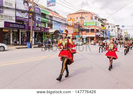 Phuket Thailand - Aug 26 : Cheerleader and parade of various schools in Phuket province on opening ceremony of yearly provincial sport.