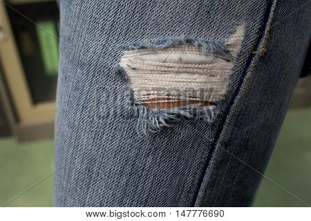 Torn jeans knee  ripped, clothes, knee, old, thread,