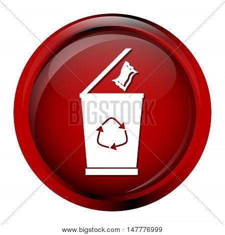 Trash bin icon red button symbol vector illustration