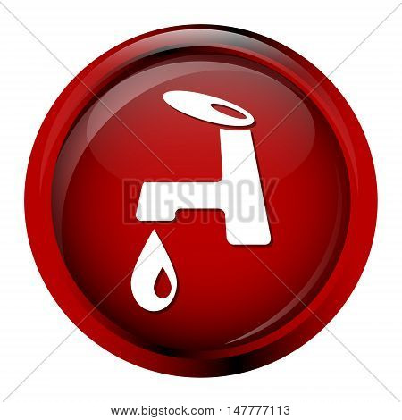 Faucet icon sign, red button vector illustration