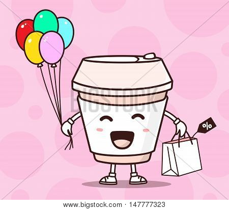 Vector Illustration Of Color Smile Takeaway Coffee Cup With Shopping Package, Air Balloons On Pink B