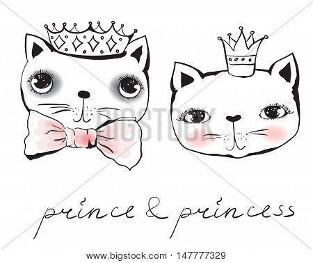 Vector doodle cute cat avatars princess and prince