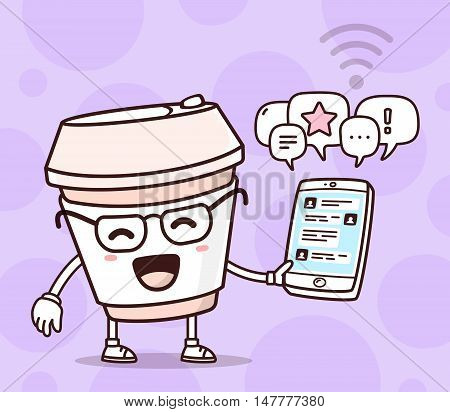 Vector Illustration Of Color Smile Takeaway Coffee Cup Holding Phone On Purple Background. Chatting