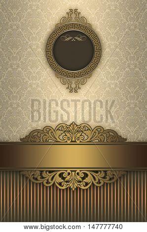Vintage background with decorative borderframe and elegant old-fashioned patterns. Book cover or vintage card design.