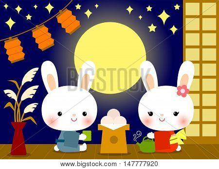 cute bunnies enjoying Tsukimi (Japan's moon watching festival)