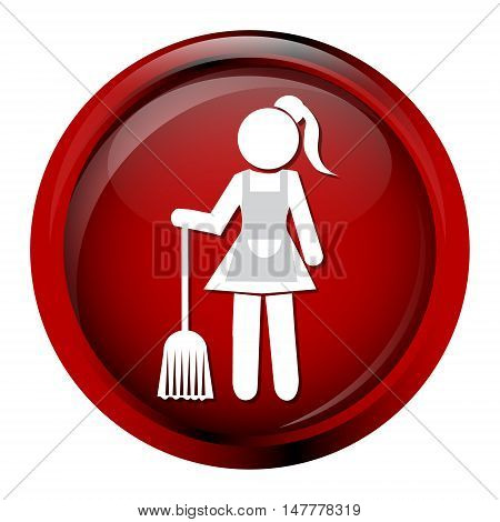 Cleaning icon Maid with broom vector illustration
