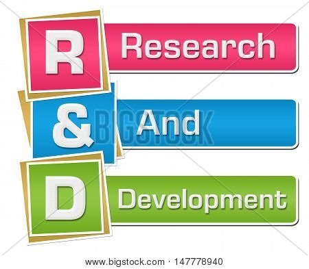 R And D - Research And Development text alphabets written over colorful background.