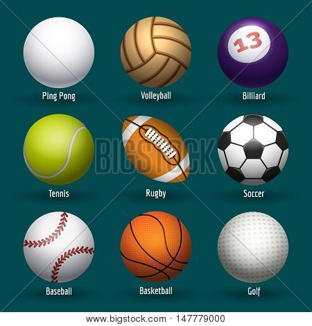 Vector sports balls for basketball, rugby and soccer. Plastic and leather stitching ball icons