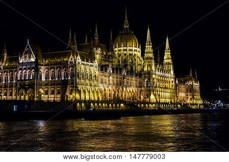 Famous building of Hungarian Parliament neogothic landmark in Budapest city.