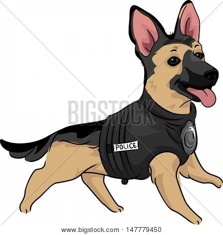 Animal Illustration of a Cute German Shepherd Puppy in a Training Vest Training to be a Police Dog