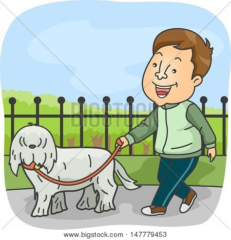 Illustration of a Sporty Man in Tracksuit Taking His Pet for a Walk in the Dog Park