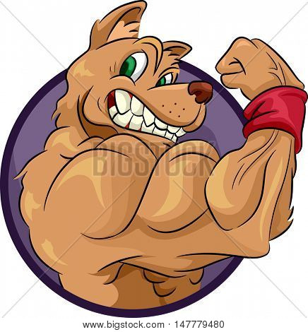 Mascot Illustration of a Muscular Dog Flexing its Biceps to Show its Muscles