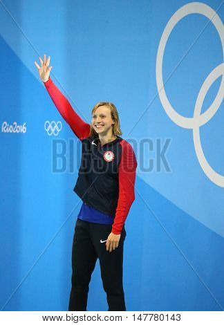 RIO DE JANEIRO, BRAZIL - AUGUST 12, 2016: Olympic champion Katie Ledecky of United States during medal ceremony after victory at the Women's 800m freestyle of the Rio 2016 Olympic Games