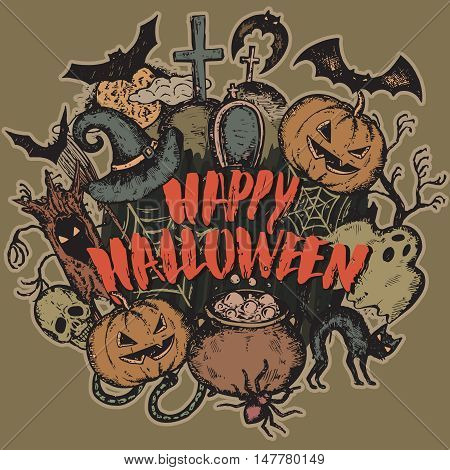 Vector illustration of sketch Halloween characters with witch hat, cauldron, bat, pumpkin, spider, house, web, moon and handwritten lettering Happy Halloween for party invitation, poster, card.