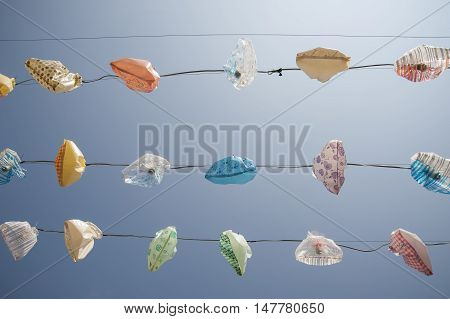 Plastic Bags Used Has Lamp Shades To Protect From Weather Asia